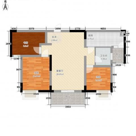 宋都西湖花苑3室1厅1卫1厨96.00㎡户型图