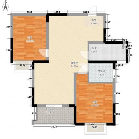 宋都西湖花苑2室1厅1卫1厨94.00㎡户型图