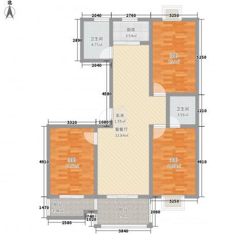 东方京都3室1厅2卫1厨143.00㎡户型图