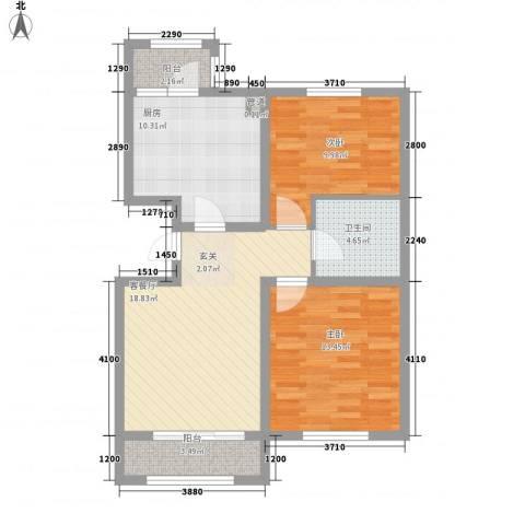 华厦津典三期2室1厅1卫1厨97.00㎡户型图