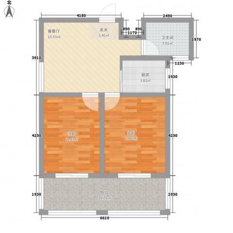 东方京都2室1厅1卫1厨86.00㎡户型图