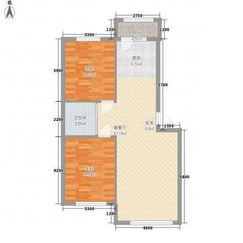 岭城一号2室1厅1卫0厨85.00㎡户型图