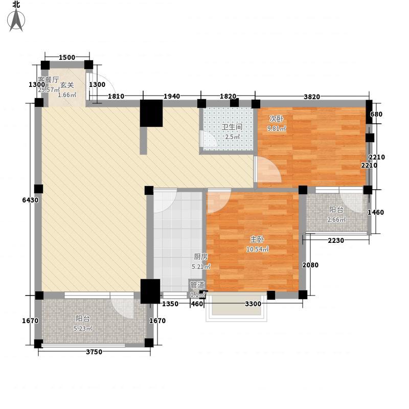 地铁时代常青城2室1厅1卫1厨84.00㎡户型图