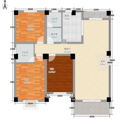 德邦翠馨居3室1厅2卫1厨138.00㎡户型图