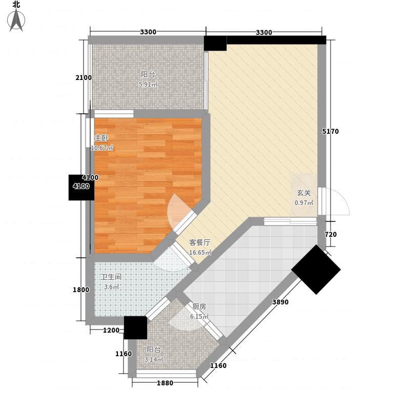 华鼎雍王府1室1厅1卫1厨68.00㎡户型图