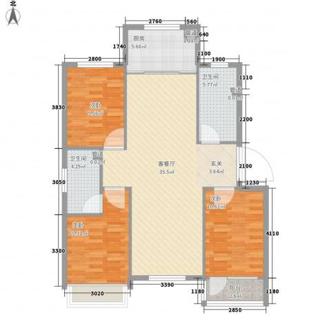 万兴凤凰花园3室1厅2卫1厨118.00㎡户型图