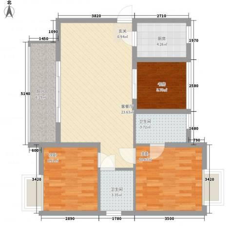 江湾国际3室1厅2卫1厨95.00㎡户型图