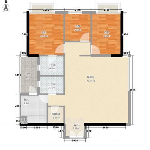 聚雅苑3室1厅2卫1厨121.00㎡户型图