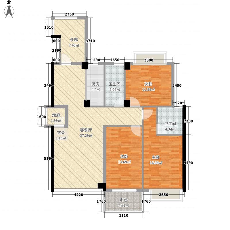 豪公馆152.23㎡2#C户型3室2厅2卫1厨