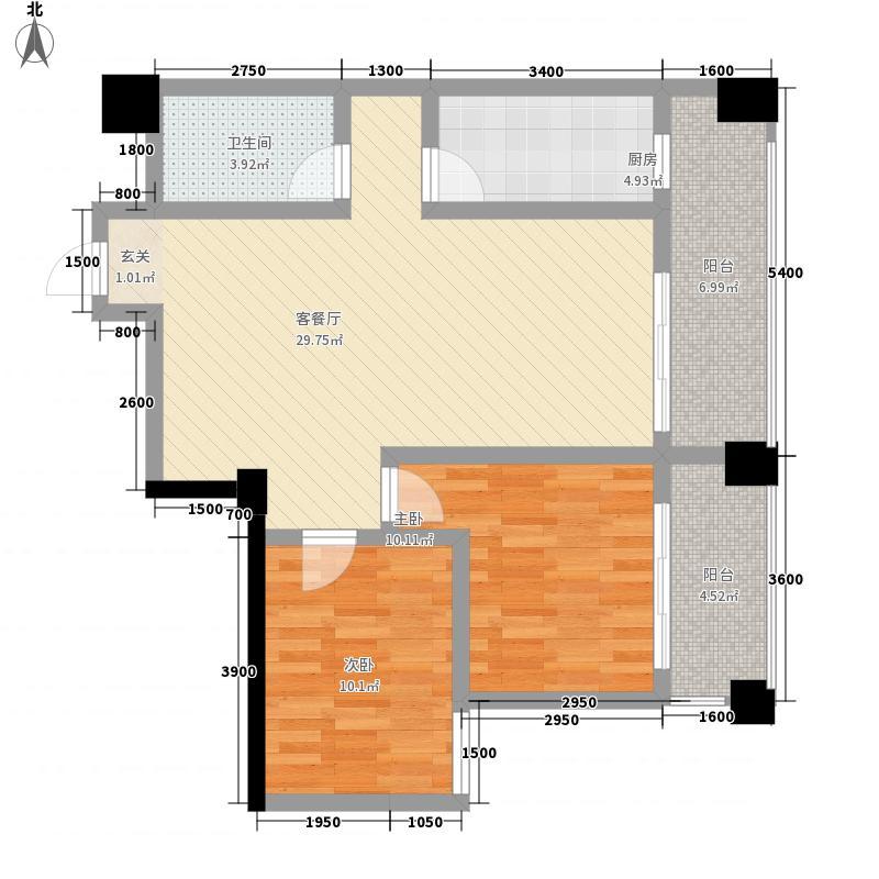 华鼎雍王府2室1厅1卫1厨103.00㎡户型图