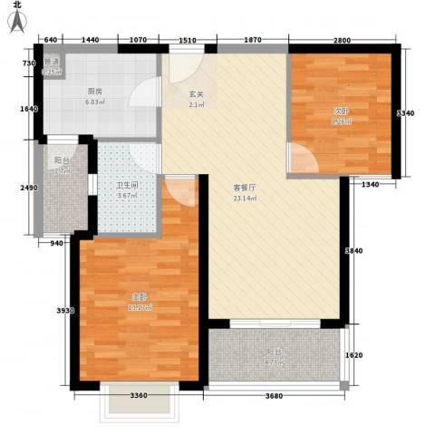 鑫苑国际城市花园小区2室1厅1卫1厨89.00㎡户型图