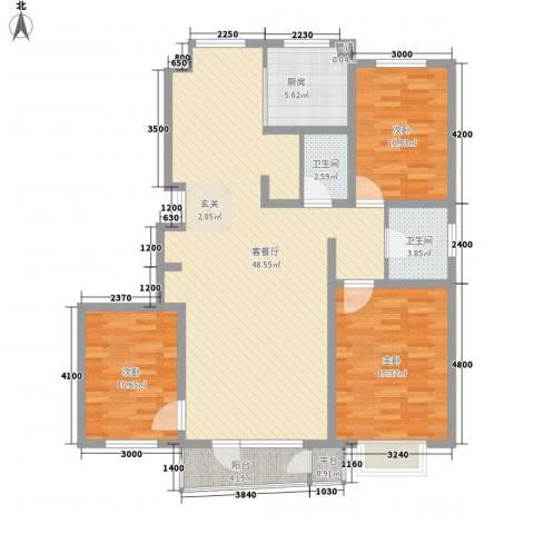 亲亲我家3室1厅2卫1厨136.00㎡户型图