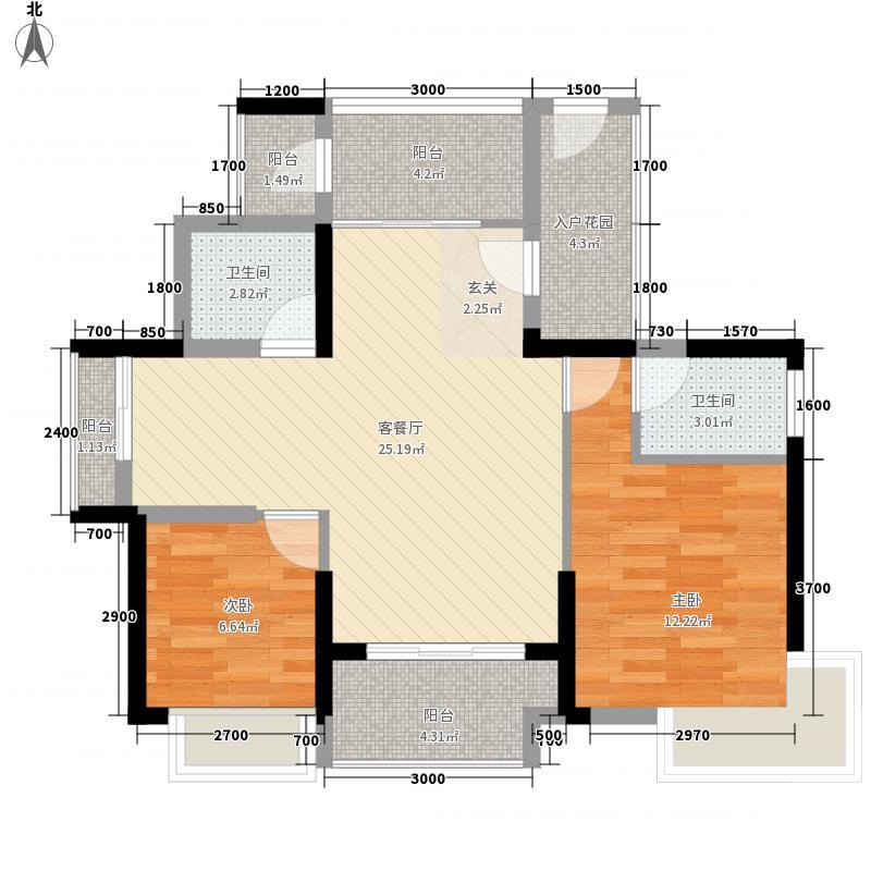 御湖半山2室1厅2卫0厨95.00㎡户型图