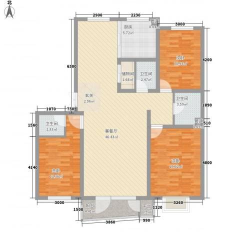 亲亲我家3室1厅3卫1厨138.00㎡户型图