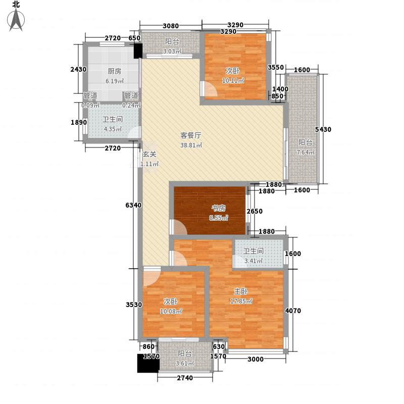 宝业桐城绿苑163.00㎡4#A户型4室2厅2卫1厨