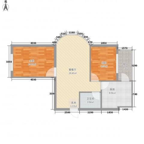 福泰名苑2室1厅1卫1厨65.48㎡户型图