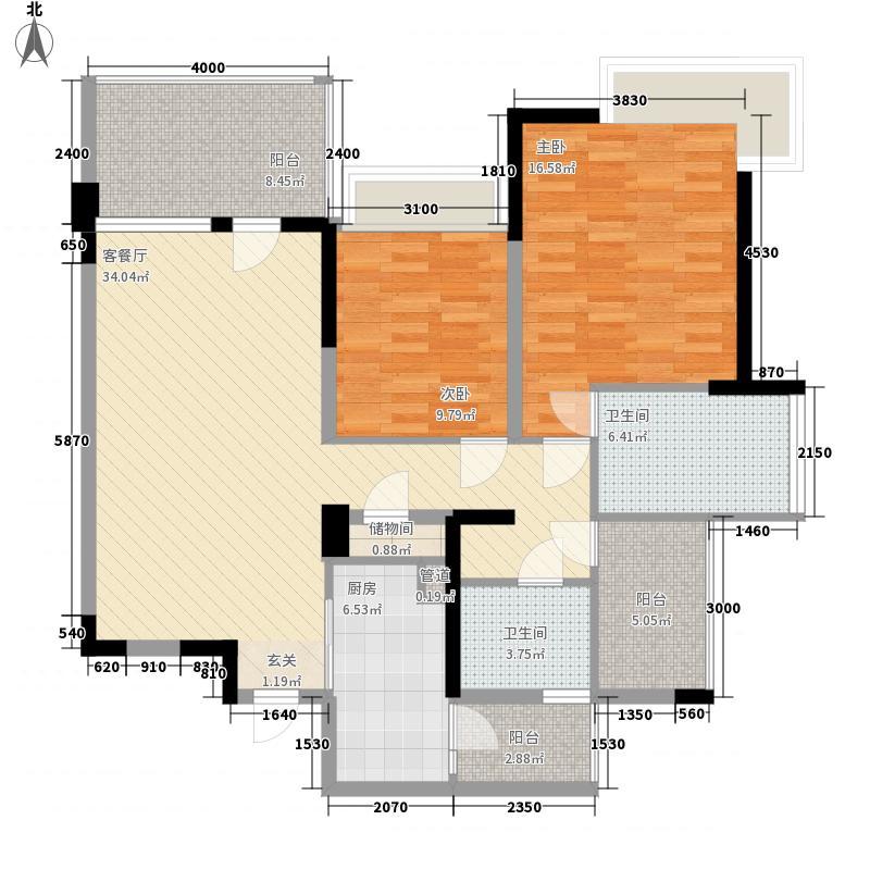 成都华侨城纯水岸112.00㎡二期F1型(奇数层)户型2室2厅2卫1厨