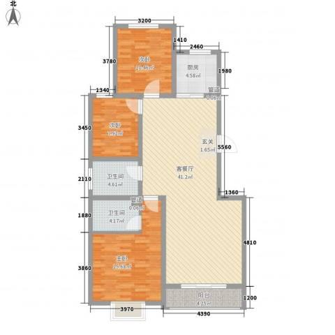鼎原时代3室1厅2卫1厨133.00㎡户型图