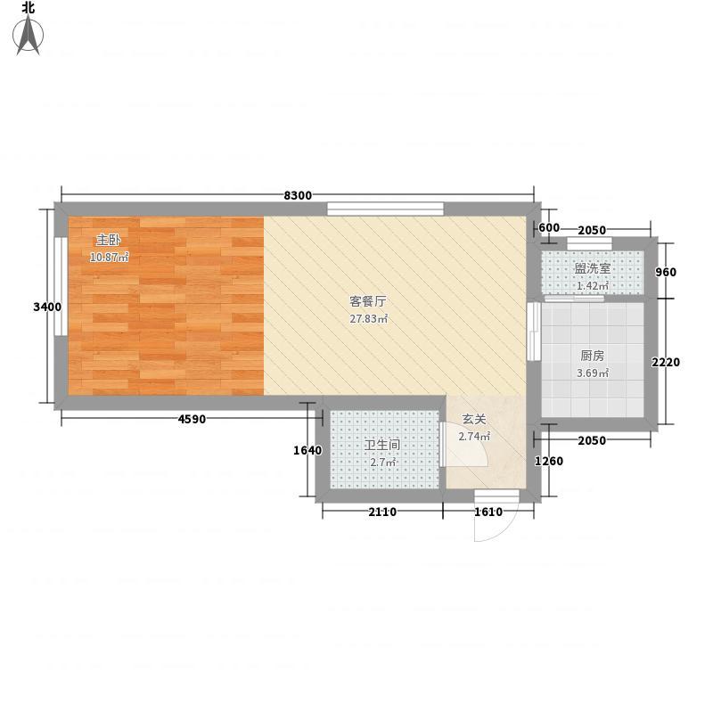 天下客新贵名苑0室1厅1卫1厨52.00㎡户型图