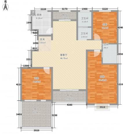 黄河龙城・半岛御境3室1厅2卫1厨145.00㎡户型图