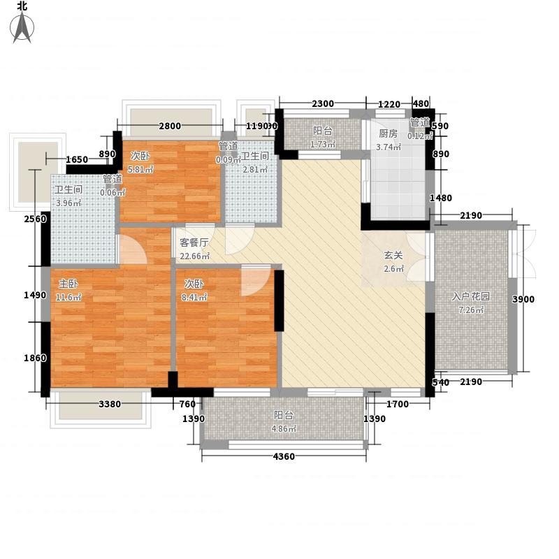 丰泰旗山绿洲95.00㎡丰泰旗山绿洲户型图3栋标准层1、2单元01户型3室2厅2卫1厨户型3室2厅2卫1厨