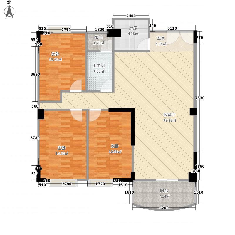 银城花园124.45㎡7栋04户型3室3厅1卫1厨