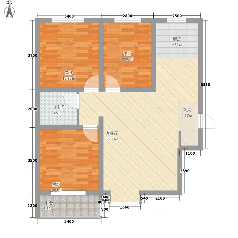 龙城金帝园3室1厅1卫0厨72.52㎡户型图
