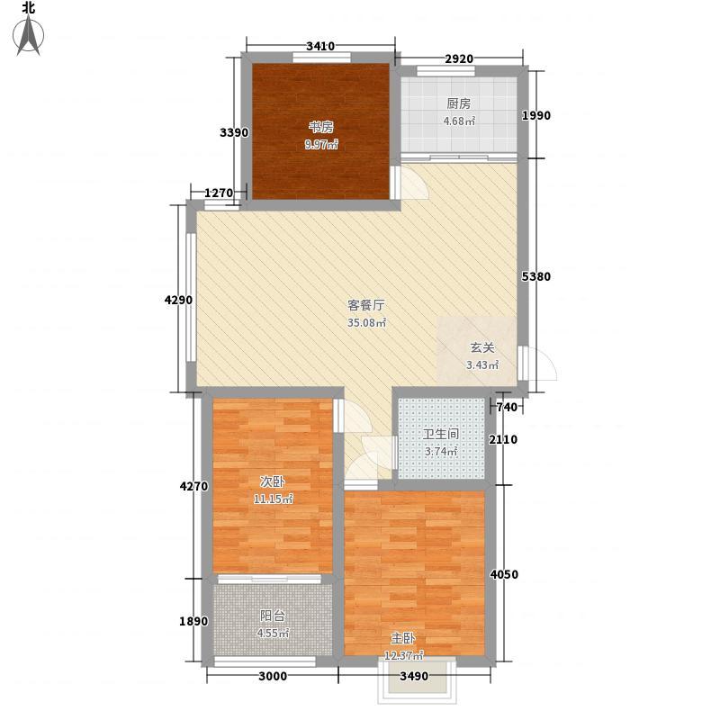 天下客新贵名苑3室1厅1卫1厨118.00㎡户型图