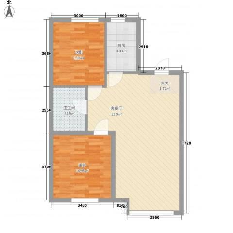 其仕盛和祥2室1厅1卫1厨83.00㎡户型图