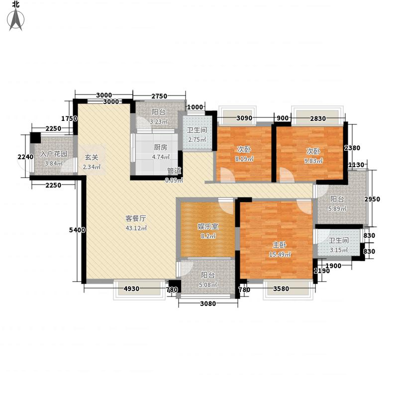 步步高置业新天地3室1厅2卫1厨164.00㎡户型图