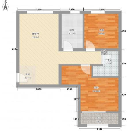 首创・悦都汇2室1厅1卫1厨55.71㎡户型图