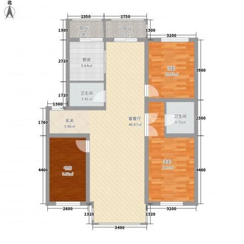 博众新城二期3室1厅2卫1厨126.00㎡户型图
