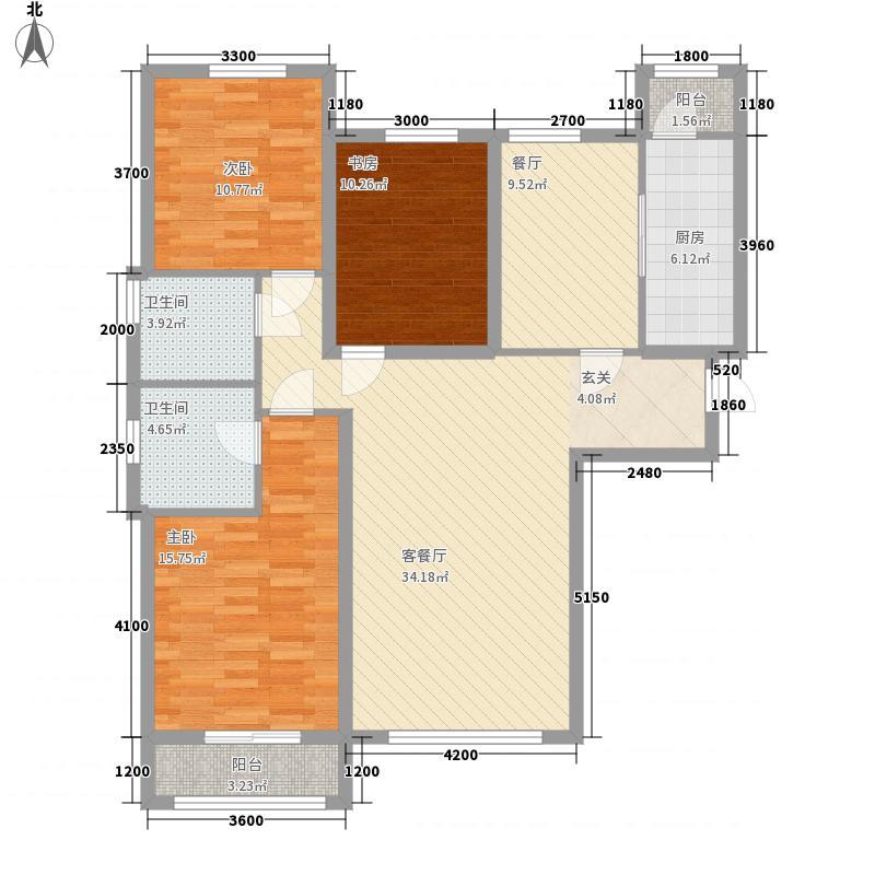 中景・香颂金街141.10㎡一期2号楼C-1户型3室2厅2卫1厨