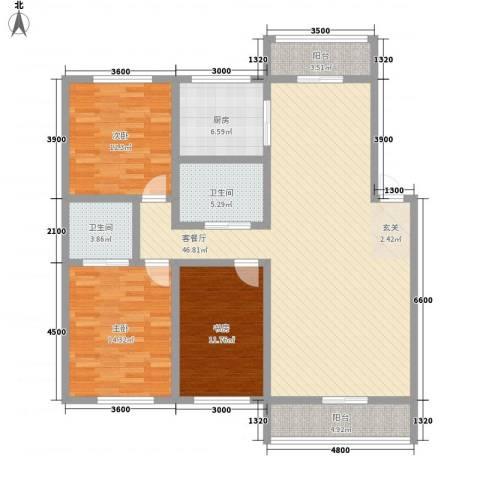 博众新城二期3室1厅2卫1厨142.00㎡户型图