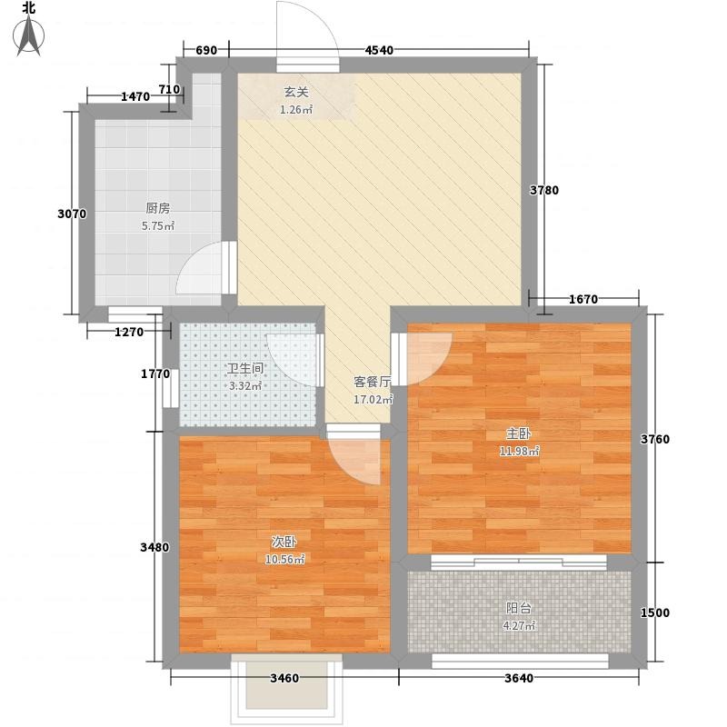 瑞珂沁园2室1厅1卫1厨77.00㎡户型图
