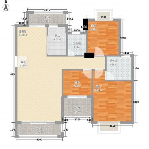 万豪天悦广场3室1厅2卫1厨121.00㎡户型图
