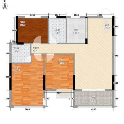 坤龙西城国阙3室1厅2卫1厨122.00㎡户型图