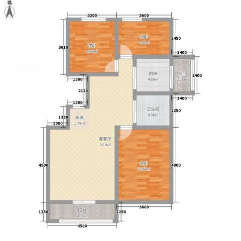 博众新城二期3室1厅1卫1厨111.00㎡户型图