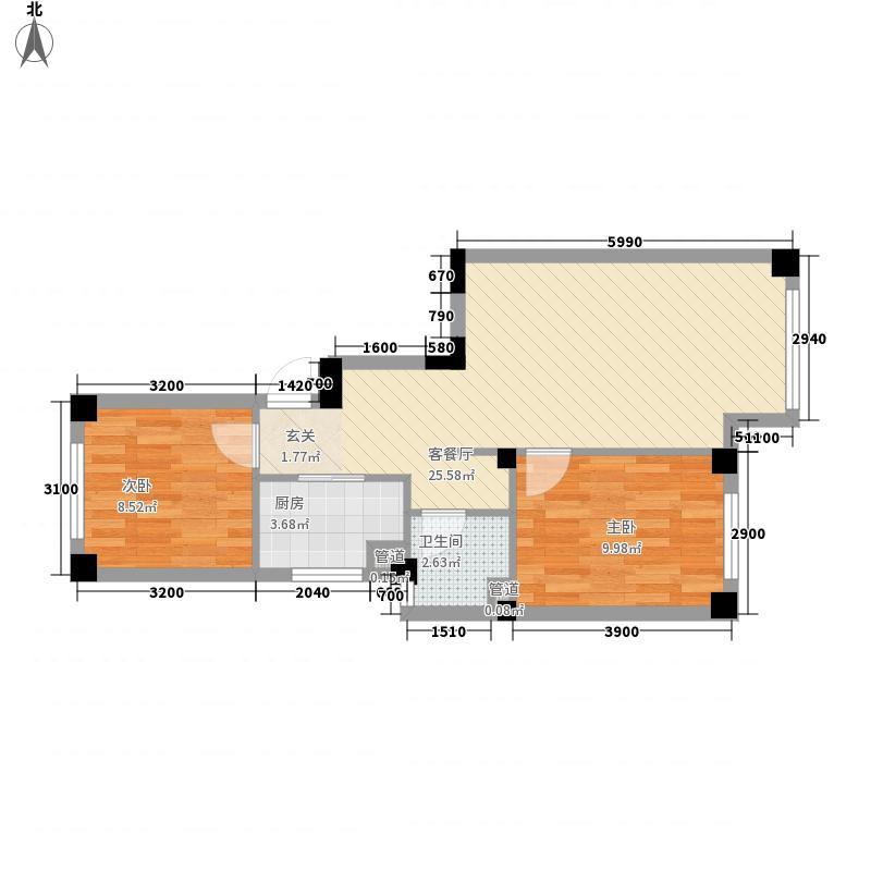 国民院子2室1厅1卫1厨50.63㎡户型图