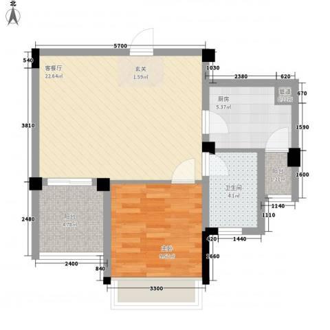 光谷麦郡1室1厅1卫1厨69.00㎡户型图
