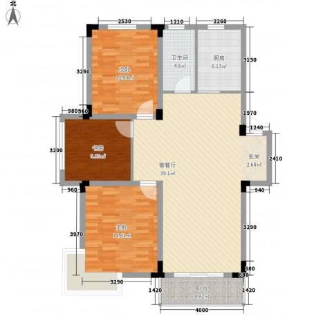 家天下3室1厅1卫1厨91.25㎡户型图