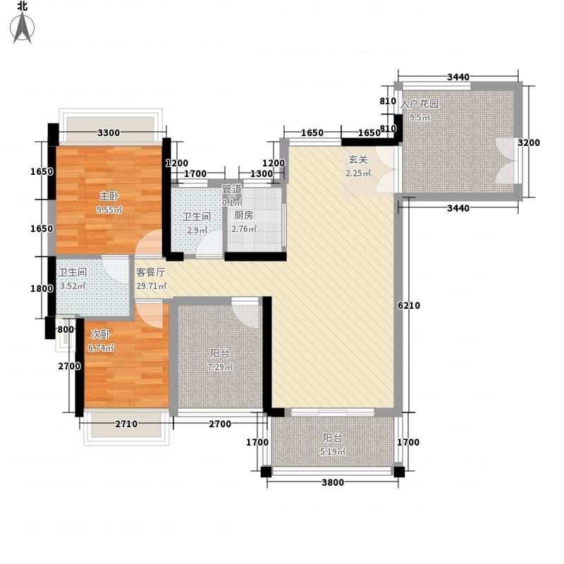 英之皇・中心城2室1厅2卫1厨77.26㎡户型图