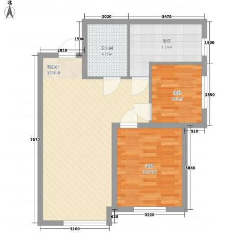 其仕盛和祥2室1厅1卫1厨75.00㎡户型图