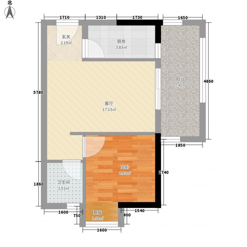 上悦城58.00㎡5#06、07户型1室1厅1卫1厨