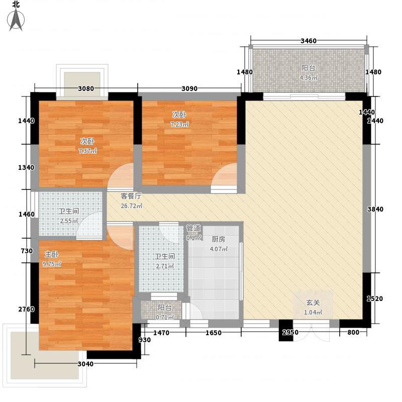 泽雅居1.40㎡二座3-11层01、02户型3室2厅2卫1厨