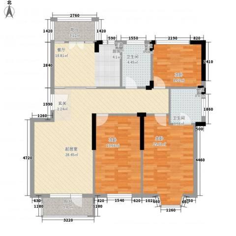 四季花苑二期绿地景城3室1厅2卫0厨136.00㎡户型图