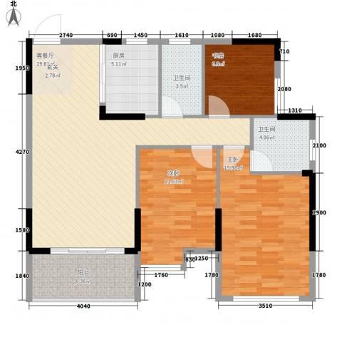 坤龙西城国阙3室1厅2卫1厨117.00㎡户型图
