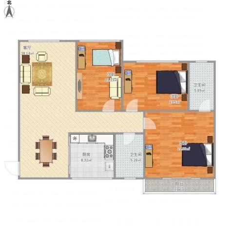湖畔春天3室1厅2卫1厨144.00㎡户型图