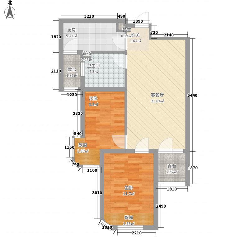 三盛颐景蓝湾2室1厅1卫1厨82.00㎡户型图