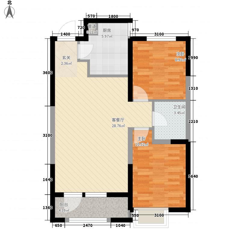 金地檀溪88.00㎡金地檀溪户型图高层1#-C2户型2室2厅1卫1厨户型2室2厅1卫1厨